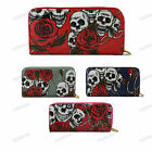 NAVY RED GREY PLUM Oilcloth Rose and Skull Print Single Zip Purse Wallet