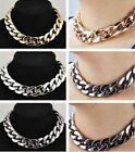 Hot Gothic Punk Style Aluminium Link Chain Choker Chunky Curb Chain Bib Necklace