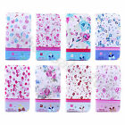 For Multi Cellphone Women Gem Floral Flowers Wallet PU Leather Case Cover Pouch