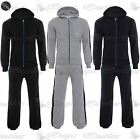 New Mens Plain Zip Up Side Stripe Panel Hoody Hooded Jogger Jog Suits Tracksuits