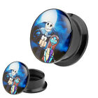Flesh Schraub Picture Ohr Tunnel Plug Piercing Comic Nightmare Jack & Sally
