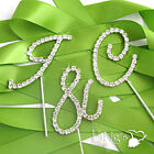 Diamante Initial Monogram Wedding Cake Topper Cupcake Favor Deacoration