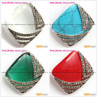 Beauty White Red Rhombus Bead Marcasite Silver New Pendant +Free gift box/chain
