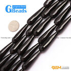 Drip Olivary Faceted/Smooth Black Agate Onyx Loose Beads For Jewelry Making 15""
