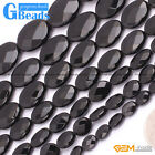 """Oval Faceted Black Agate Onyx Loose Beads Gemstone Stands 15"""" for Jewelry Making"""