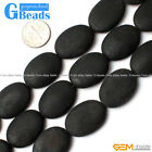 "Oval Matte Brazil Black Agate Gemstone Loose Beads Strands 15"" Jewelery Making"