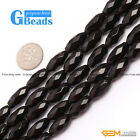 Natural Faceted Olivary Black Agate Onyx Beads Jewelry Making Gemstone Beads15""
