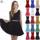 Womens Ladies Sleeveless Flared Franki Gold Belted Party Skater Dress Plus Size