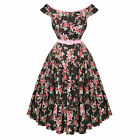Hell Bunny Rose Pink Brown Floral 50s Vintage Party Summer Sun Tea Dress