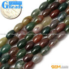 Natural Stone Indian Agate Olivary Beads For Jewelry Making Free Shipping 15""