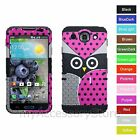 For LG Optimus G Pro E980 Owl / Polka Dot Hybrid Rugged Impact Phone Case Cover