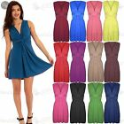 Womens Ladies V Neck Ruched Sleeveless Bow Knot Stretchy Bodycon Midi Dress Top