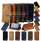 Cowhide Real Leather Cover Retro slots Flip Wallet Case  For iPhone 5 5s 6 6Plus