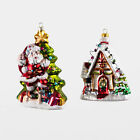 Blown Glass Santa or Gingerbread House ornaments One Hundred 80 Degrees TT0521