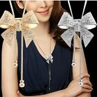 Stylist Crystal Bowknot Pendant Long Necklace Rhinestone Butterfly Sweater Chain