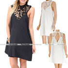 Sexy Women Casual Sleeveless Lace Flower Cocktail Party Chiffon Short Mini Dress