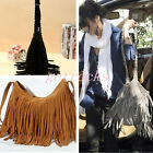 Vintage Suede Fringed Tassel Cross Messenger Tote Handbag Shouder Bag Hippie UK