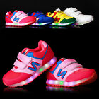 New  Boys Girls Colorful LED Light Up Sports Velcro Sneakers Kids Dance Shoes