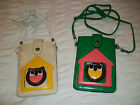 Leather Shoulder Purse OWL Design  Beige Or Green 15.5cm height by 4.5cm width