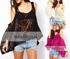 AU SELLER Womens Sexy Off Shoulder Lace Crop Oversize Top Beach Cover Up T031