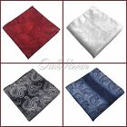 "100Pc 10"" Men Wedding Rich Luster Paisley Pocket Square Handkerchief Hanky News"