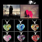 Trend Love Flower Crystal Rhinestone Silver Heart Pendant Necklace Chain Gift