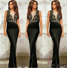 Women Black Nude Lace Long Maxi Prom Bridesmaid Cocktail Evening Ball Gown Dress