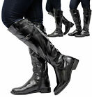 Ladies Women Calf Knee High Block Low Mid Heel Zip Biker Riding Boots Shoes Size