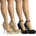 Ladies Diamante Large Gem Sparkle Shoes LYDC Prom New Years Party Heels Stiletto