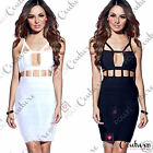 Womens Sexy Black Cut Out Celeb Party Evening Bodycon Bandage Going Out Dress
