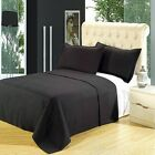 Black Coverlet Set, Luxury Microfiber Checkered Quilt by Royal Hotel