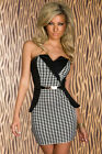 Womens Peplum Dress Party Evening Mini Dress Celeb Bodycon Bandage Dogtooth