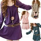 NEW Party Casual Womens Belted Mini Dresses Tunic Top Korea Long Sleeve Dress