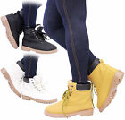 Ladies Womens Casual Flat Heel Lace Up Grip Winter Fur Biker Ankle Boots Size