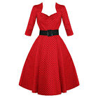 Hell Bunny Momo Red Polka Dot 50S Vintage 3/4 Sleeve Flared Swing Prom Dress