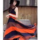 Women Bohemian Striped High Waisted Pleated Summer Long Beach Sundress Dress New