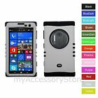 For Nokia Lumia 1020 White Hard & Silicone Hybrid Rugged Impact Phone Case Cover