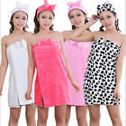 Women Lovely Sexy Flannel Wrapped chest bowknot SPA Bath night-gown headwear