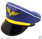 New Fancy Dress Adult Pilot Style Captain Blue with Gold Hat Costume
