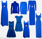 Christmas Ladies Evening Royal Blue Swing Diamante Maxi Dress Gown Skater Top
