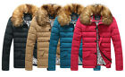 Charming Men Solid Color Fur Collar Comfort Thick Warm Padded Coat Outwear CA LA