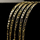 Hot 18K Yellow Gold Plated Italy Figaro Link Chain Necklace Men's Collar Jf1201