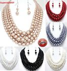 5 Multi Strand Bead Jewelry Earrings Chain Chunky Layered Silver Pearl Necklace