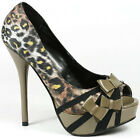 Brown Black Yellow Leopard Satin w Bow High Stiletto Heel Open Toe Platform Pump