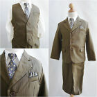 Elegant LTO Dark camel pinstripe/ivory wedding recital party boy formal suit