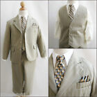 Elegant LTO Dark taupe pinstripe/ivory wedding recital party boy formal suit
