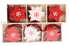 Box of 9 Wooden Red & White Stars or Tree Christmas Xmas Decorations Chic Shabby