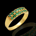 14k Gold & Emerald Band Ring 14 Accent Emerald Gemstones - Free Shipping