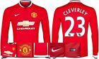 *14 / 15 - NIKE ; MAN UTD HOME SHIRT LS / CLEVERLEY 23 = SIZE*