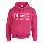 EAT,  SLEEP,  GOLF HOODIE ADULT KIDS - PERSONALISED - TOP GIFT GOLFING